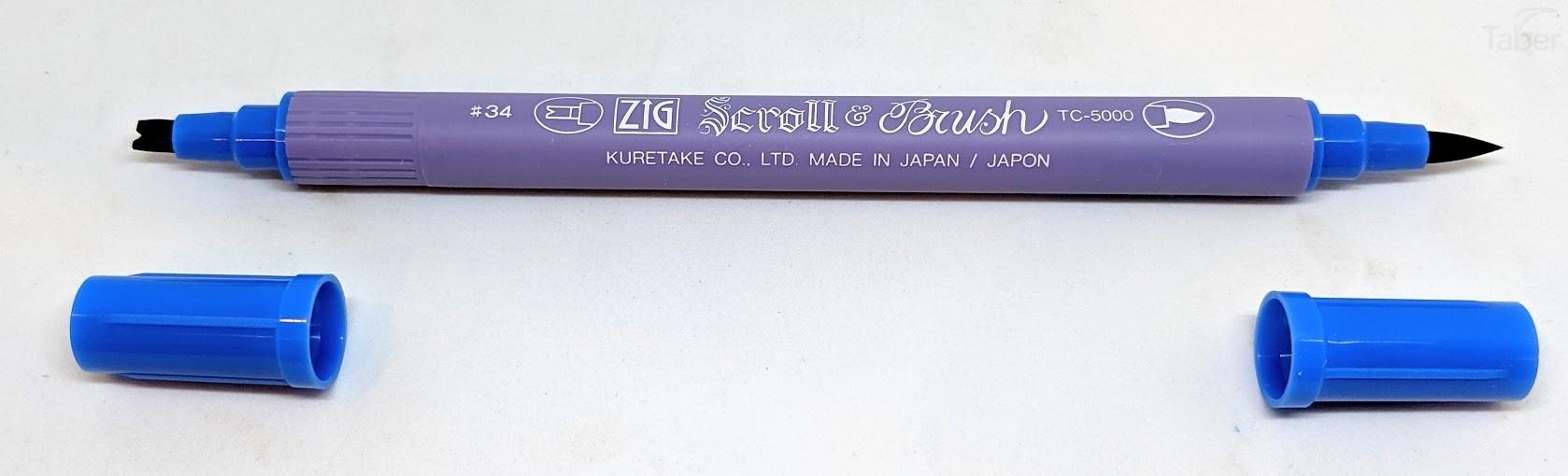 Zig Scroll & Brush Marker, Denim