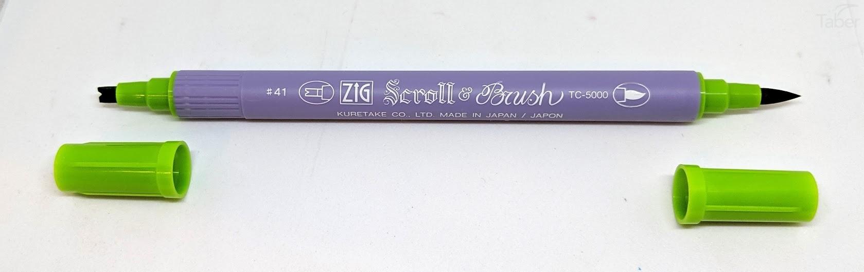 Zig Scroll and Brush Marker, Light Green