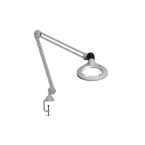 "Luxo KFM LED, 45"" arm, 3-D lens, and edge clamp mount, light grey"