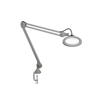 "Luxo Magnifier LFM LED G2, 45"" arm, 3-D lens and clamp, Light Grey"