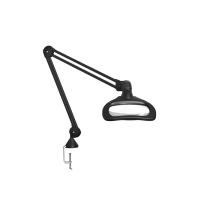 "Luxo WAVE LED ESD, 30"" arm, 5-D lens, and edge clamp mount, black"