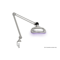 """Luxo WAVE LED UV, 45"""" arm, 5-D lens, and edge clamp mount, light grey"""