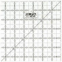 """Olfa QR-6S 6 1/2"""" Square Acrylic Ruler Non-Slip, Frosted"""