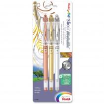 Pentel Slicci Metallic Extra Fine Gel Roller, 3/pk Assort