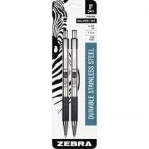Zebra F-301 Retractable Ballpoint 0.7mm Black 2pk